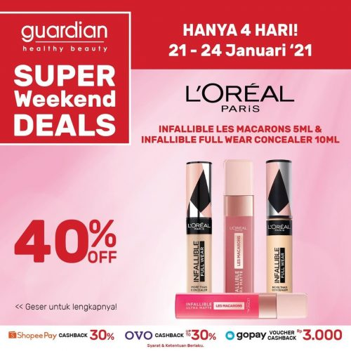 Promo GUARDIAN Super Weekend Deals up to 40% off periode 21-24 Januari 2021
