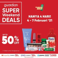 Promo GUARDIAN Super Weekend Deals up to 50% off periode 04-07 Februari 2021